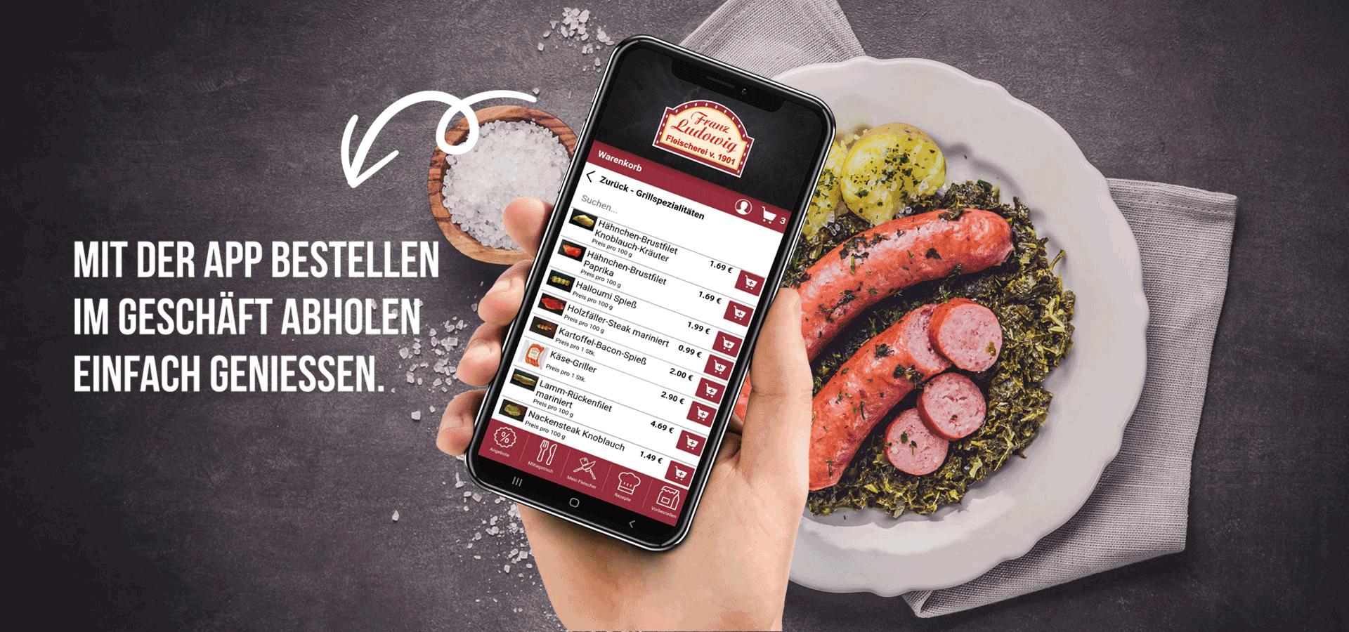 Ludowig App über Wurstgericht auf Teller